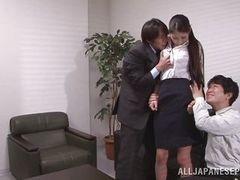 Японское секс втроем ММЖ в офисе